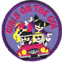 """""""GIRLS ON THE GO"""" Iron On Embroidered  Patch Girly Things Sayings"""