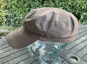Barbour Cap Hat Brown Waxed Cotton Size XL Unisex