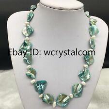"""Blue Shell White Real Pearl Necklace 19"""""""