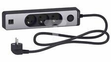 Odace Przedłużacz 3 gniazdowy z łącznikiem 2x USB, 1,5m antracyt+szczotkowane al