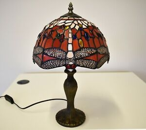 """Dragonfly unique Tiffany Style 10"""" stained glass Shade Table Lamp E27 Bulb UK"""