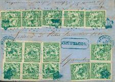 Perú. sur 10 (14) . 1867. 5 Cts Vert, Quatorze Timbres (Certains avec Pli de Arc