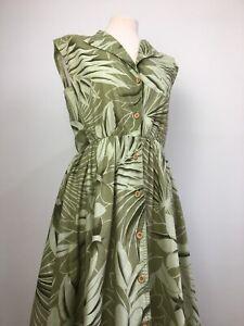True Vintage Tropical Leaf Print Botanical Landgirl Cottage Tea Dress Size 10 12