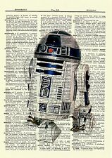 R2D2 Star Wars Dictionary Art Print Book Page Picture Poster Collectible Vintage