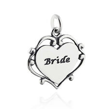 Bride Heart Charm - 925 Sterling Silver - Wedding Scroll Engraved Gift Love NEW