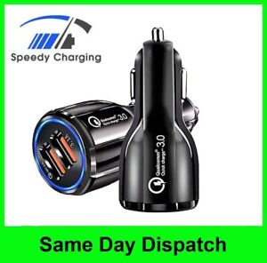 FAST Car Charger Dual USB UNIVERSAL LED Charging QC 3.0 Cars Socket 12V-24V
