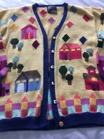 BEREK MARTA D VINTAGE 1989 WOMENS HOUSE $SOLD$  CARDIGAN SWEATER SZ M EUC Hand K