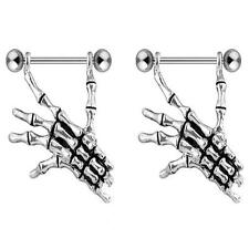 Pair of Skull Bone Hand Nipple Surgical Stainless Steel Ring Barbell Shield F44