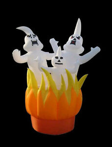RARE 10-Ft. Gemmy Airblown Inflatable 3 Ghosts on Fire Halloween Yard Decoration