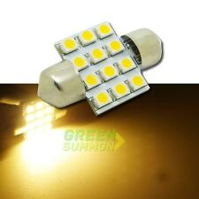 "31mm 1.25"" Warm White 12 LED 3528 smd Dome festoon Light DE3175 DE3021 12V Bulb"