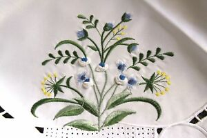 "Ivory Embroidery Handmade Blue Rosebud Yellow Flower Embroidered 33"" Tablecloth"
