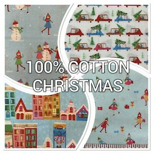 100% Cotton Christmas Prints - Christmas Town, Snowmen, Facemasks - Per Metre