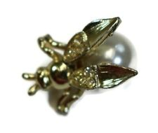 Vintage Gold Tone Flying Insect Bee Wasp Ladybug Faux Pearl Pin Brooch