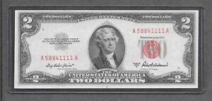 1953 A - $2 CU * Miscut + Fancy Solid 4 of A Kind Poker # 5884.1111 * Note