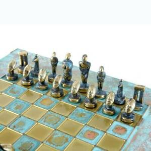 Manopoulos Cycladic Art Chess Set - Bronze Material - Blue oxidized chess Board