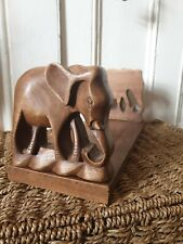Vintage Elephant Hand Carved Wooden Expandable Book Shelf Stand