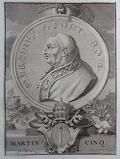 Gravure Etching Portrait MARTIN V Papa Martino V Bernard Picart