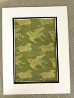 1890 Antique Japanese Print Birds Songbird Silk Fabric Printing Textiles Design