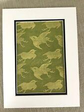 Antique Japanese Print Birds Songbird Silk Fabric Printing Textiles  Ca. 1890