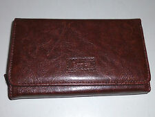Baroness 15cm French Clutch Purse Outside Zipper - Brown