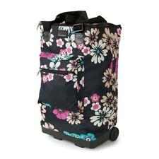 Lightweight 2 Wheeled Folding Shopping SHOPPER Cabin Travel Bag Trolley Ryanair Pretty Petals Green