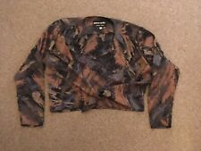 Ladies, Pierre Cardin, Multi Colour, Long Sleeved, Front Tie, Crop, Top. Size 16