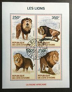 Lions CTO Souvenir Sheet of 4 Stamps 2014 Ivory Coast Wild Animals