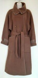 Ladies Vintage Jobis Long Brown Wool Coat oversized UK Large