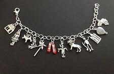 Wizard of Oz Charm Bracelet Dorothy Ruby Slippers Silver Charms / Jewelry
