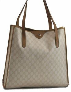 Authentic GUCCI Tote Bag GG PVC Leather White Brown B9409