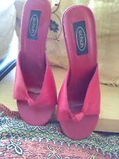 "Ladies,size 4.Schuh,red leather peep toe,platform shoes.4"" patent stiletto heel"