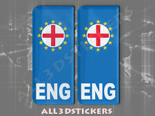 2x3D Sticker Resin Domed Euro ENGLAND Number Plate with Flag Car Badge Adhesive