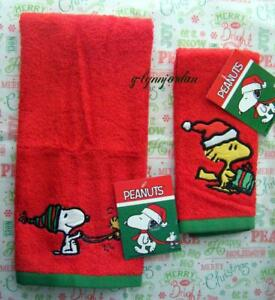Peanuts Snoopy Woodstock Christmas Hand & Finger Tip Towels Set New