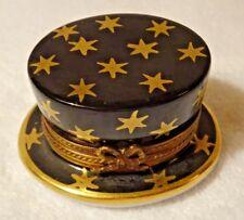 Limoges Porcelain Magician Magic Trick Hat with Rabbit Trinket Gift Box