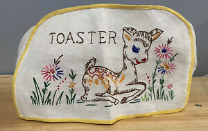 Vintage Embroidered Toaster Cover Linen Deer Bambi Yellow Flowers