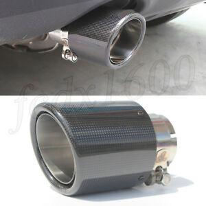 """Universal Carbon Fiber Exhaust Tip Stainless 3"""" Inlet Car Exhaust Muffler Pipe"""