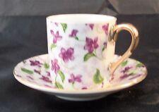Demitasse Cup & Saucer, marked Japan, Purple Violets with Gold Trim