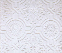 Circle Medallion and Embossed Design Tin Ceiling Paintable Wallpaper  148-32817