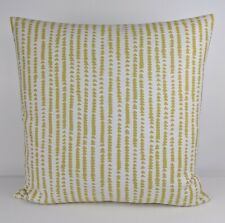 "John Lewis Xander Fabric Cushion Cover 16""x16"" Yellow Striped Triangles Scandi"