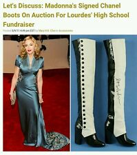 CHANEL BOOTS RUNWAY BLACK PATENT LEATHER&WHITE LAMBSKIN 21 BUTTONS!EU 37.5/US7.5