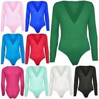 Womens Ladies Plain Full Sleeve Wrap Cross Deep Plunge Bodysuit Leotard Top