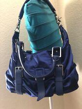 Botkier Blue Satin Leather Trim Buckle WhipStitch Satchel Convertible Hobo Bag