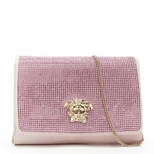 VERSACE Palazzo Medusa pink strass crystal embellished suede flap clutch bag