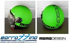 NUOVO CASCO MOMO DESIGN FIGHTER FLUO VERDE FROST DECAL. NERO TG. XS