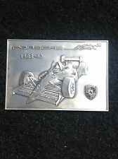 "metal plaque by Porsche factory for their Indy racing effort, 1988-90 4 1/4""X3"""