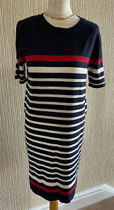Paul Costelloe Blue Red White Striped Knitted Jumper Sweater Dress UK 14 / 16 L