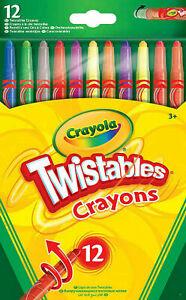 12 Pack Crayola Twistable Multi-coloured Crayons UK