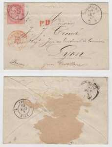 """ITALY 1864 Sc 31a ON COVER """"BOLOGNA 7S"""" Cds TO LYON, """"PD"""" + """"ITALIE LANSHEBOURG"""""""