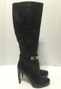 Sam Edelman Klara Knee High Boots Black Leather Gold Belt Women Sz EU39.5/US8.5