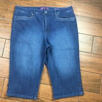 Gloria Vanderbilt WOMENS 18 Skimmer Missy Capri Blue Denim Jeans